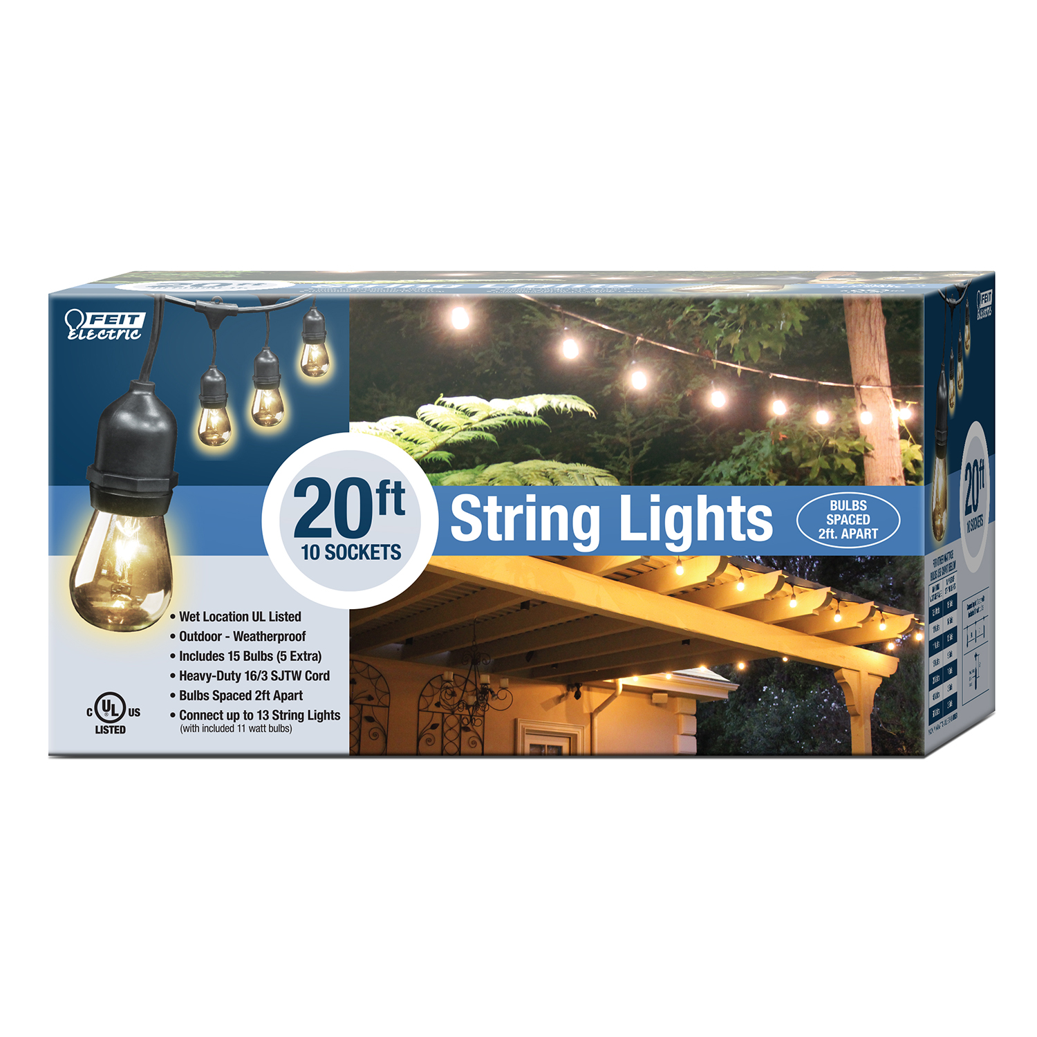 Feit Electric String Lights Dimmable : 20 Foot String Light - Feit Electric