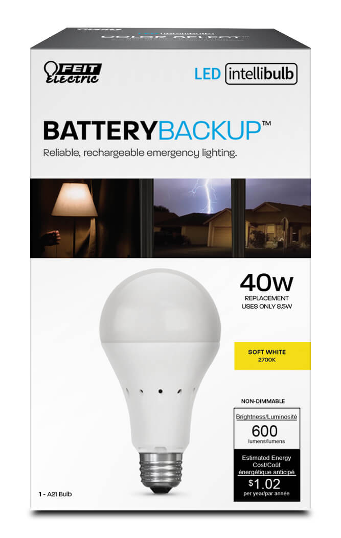 IntelliBulb Battery Backup 600 Lumen 2700K LED A19