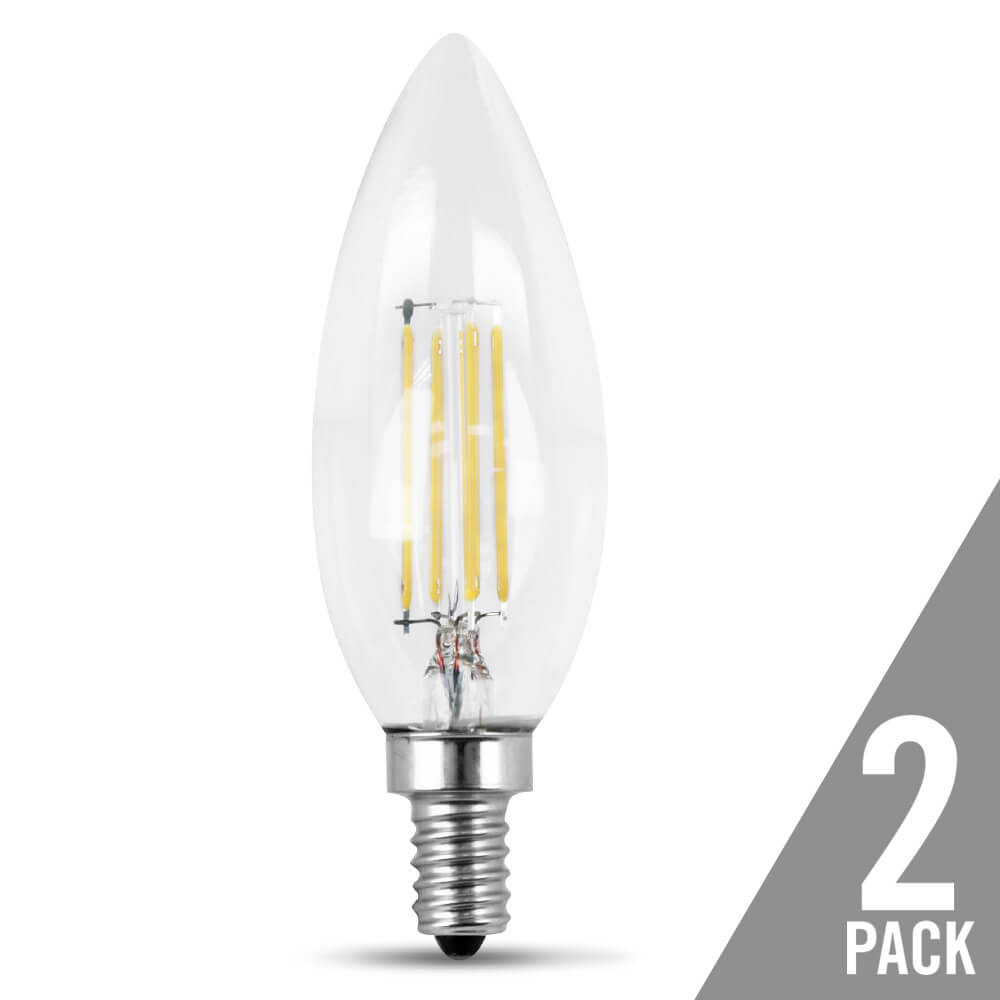 60-Watt Equivalent Soft White Clear Torpedo Tip Dimmable LED Glass Filament (2-Pack)