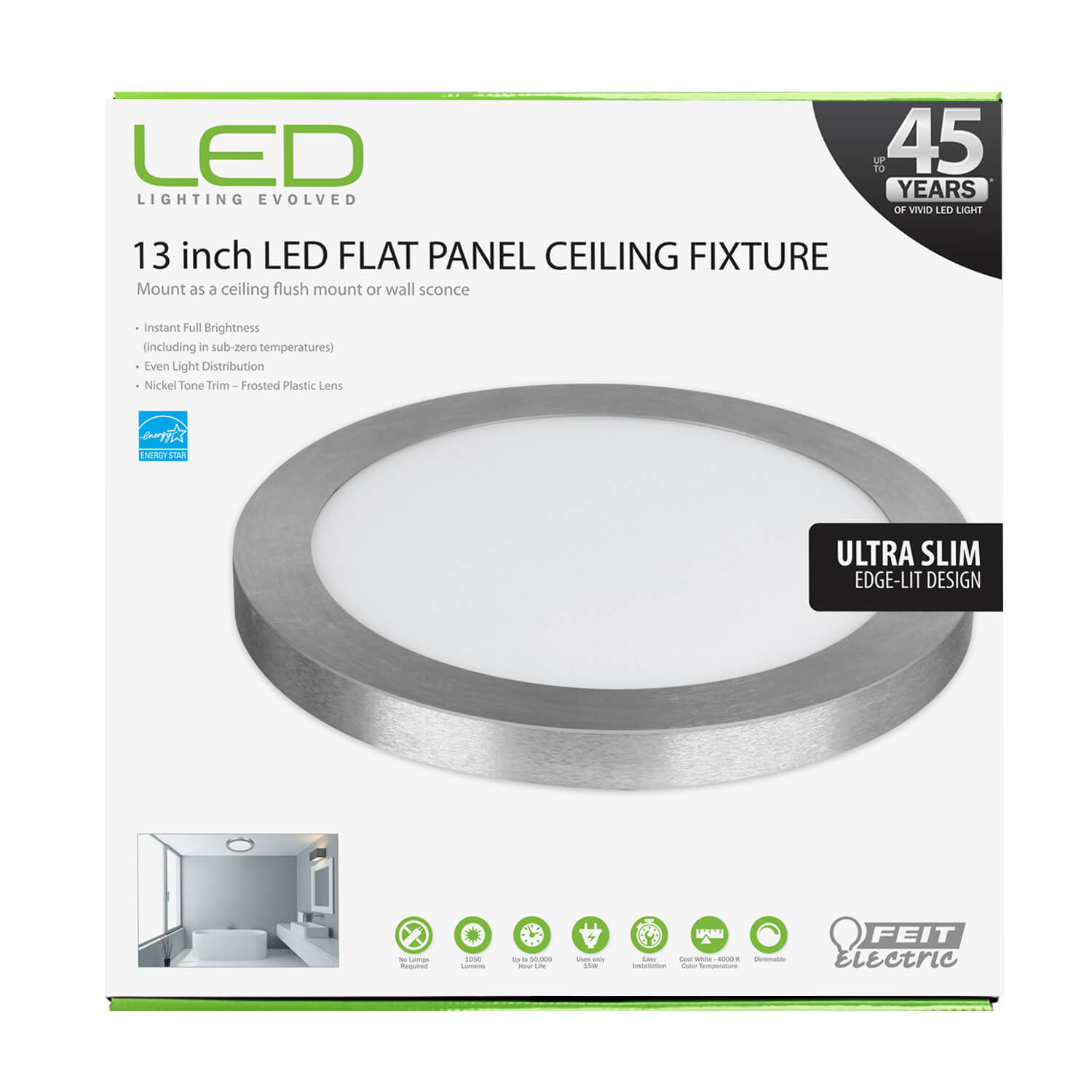 1050 Lumen 4000k 13 Inch Led Flat Panel Ceiling Fixture