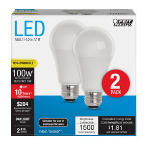 100-Watt Equivalent A19 Daylight General Purpose LED (2-Pack)