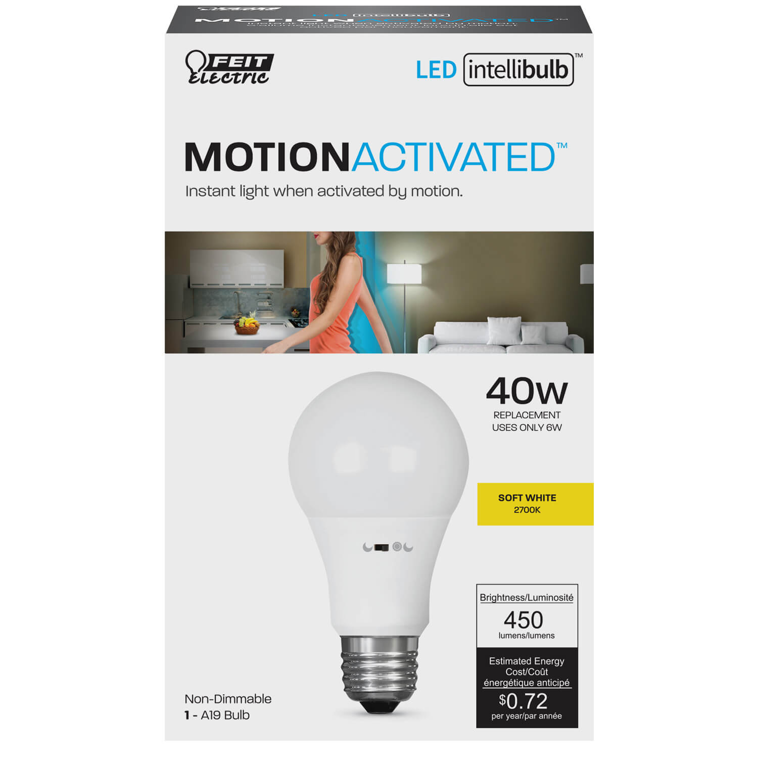 Intellibulb Motion Activated 450 Lumen 2700k Led A19