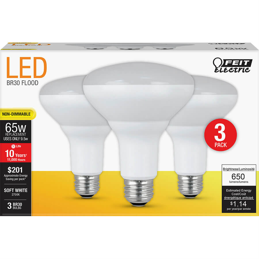 650 Lumen 2700k Non Dimmable Br30 Led Feit Electric