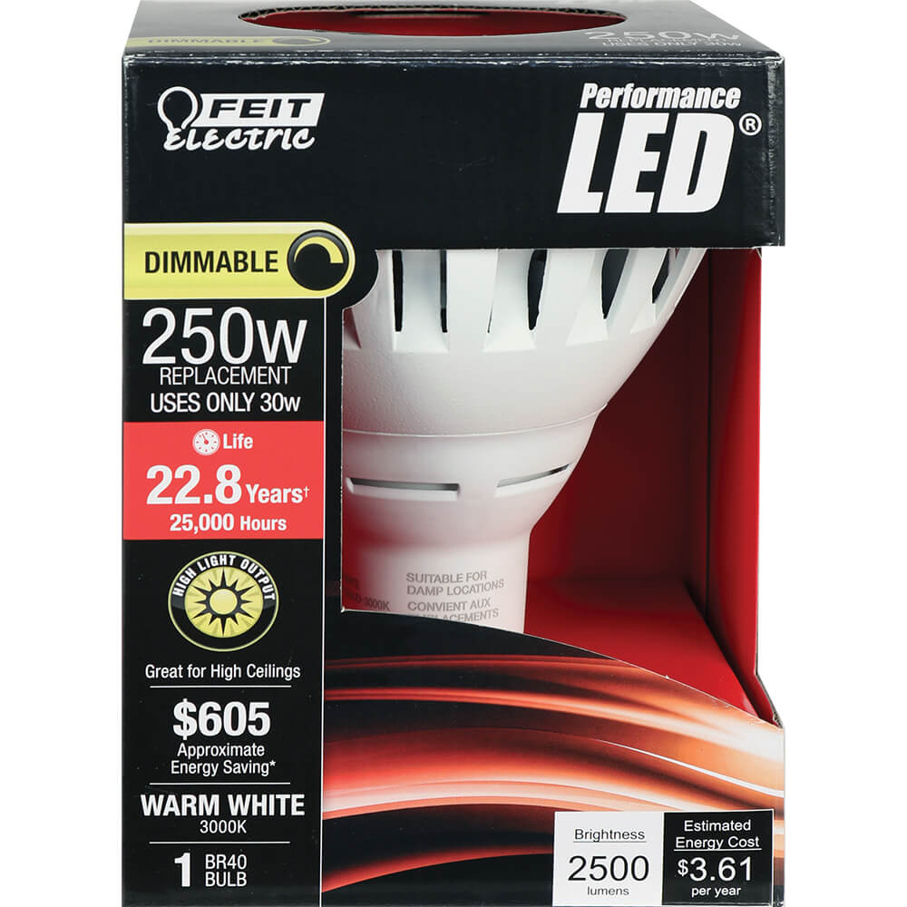 2500 Lumen 3000k Dimmable Led Br40 Feit Electric