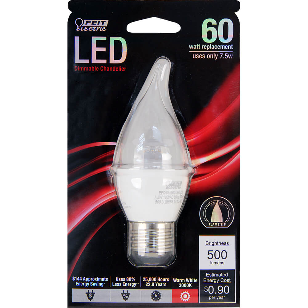 500 Lumen 3000k Dimmable Led: 500 Lumen 3000K Dimmable Flame Tip LED