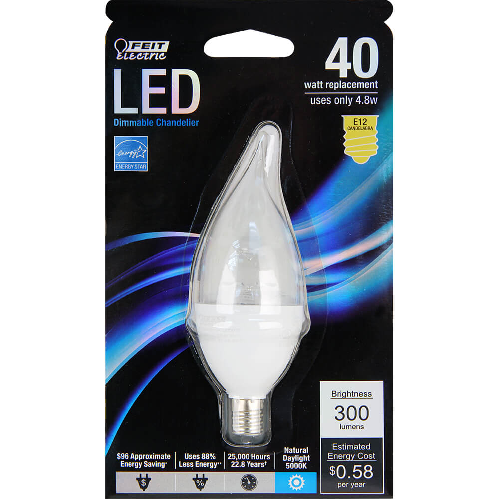 310 Lumen 5000k Dimmable Flame Tip Led Feit Electric