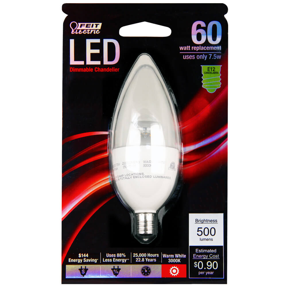 Feit Electric 60w Equivalent Warm White Chandelier B10: 500 Lumen 3000K Dimmable Torpedo Tip LED