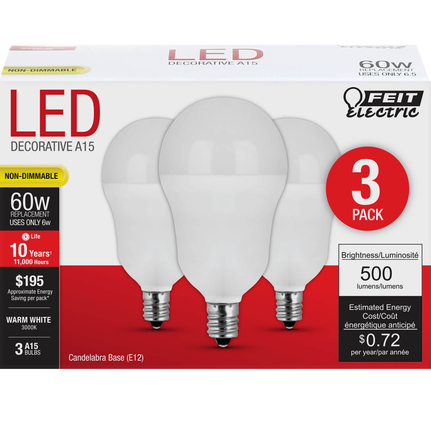 500 Lumen 3000k Dimmable Led: 500 Lumen 3000K Non-Dimmable A15 LED