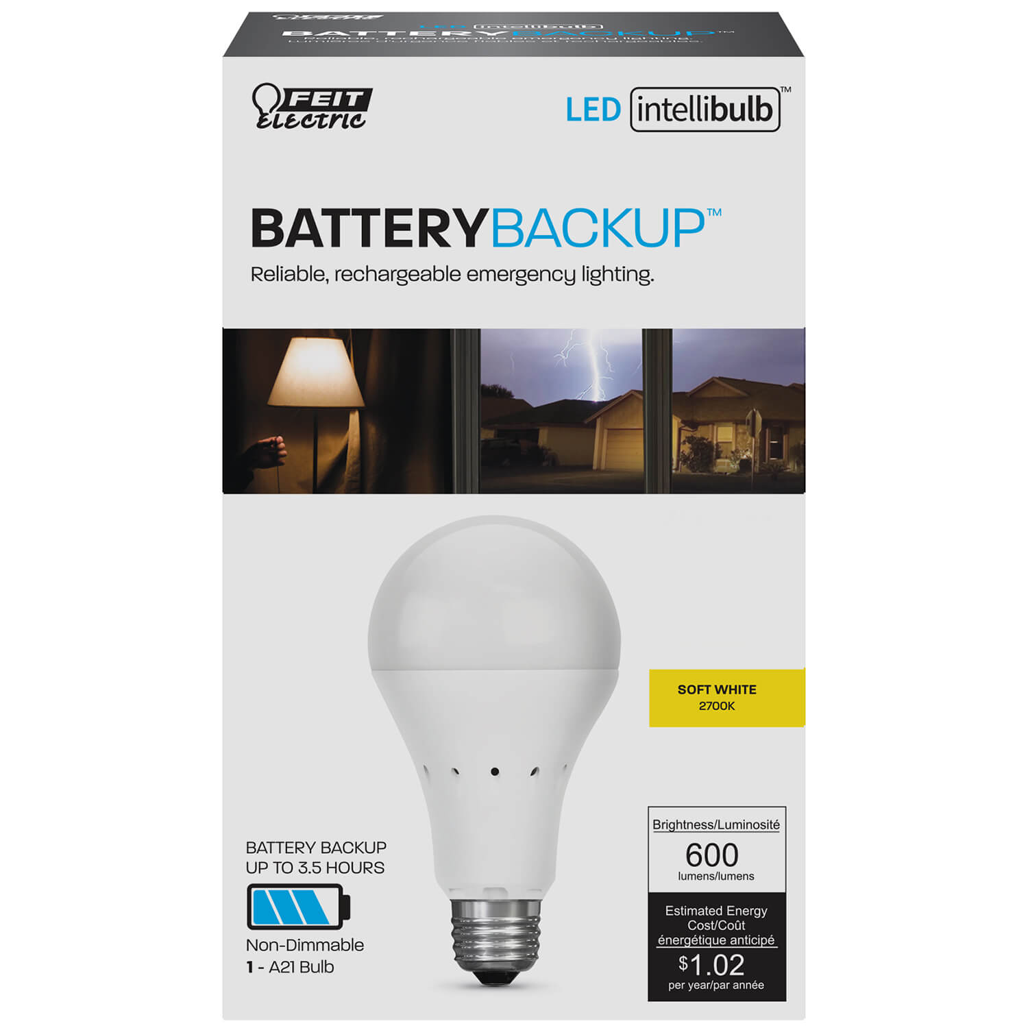 Intellibulb Battery Backup 600 Lumen 2700k Led A19 Feit