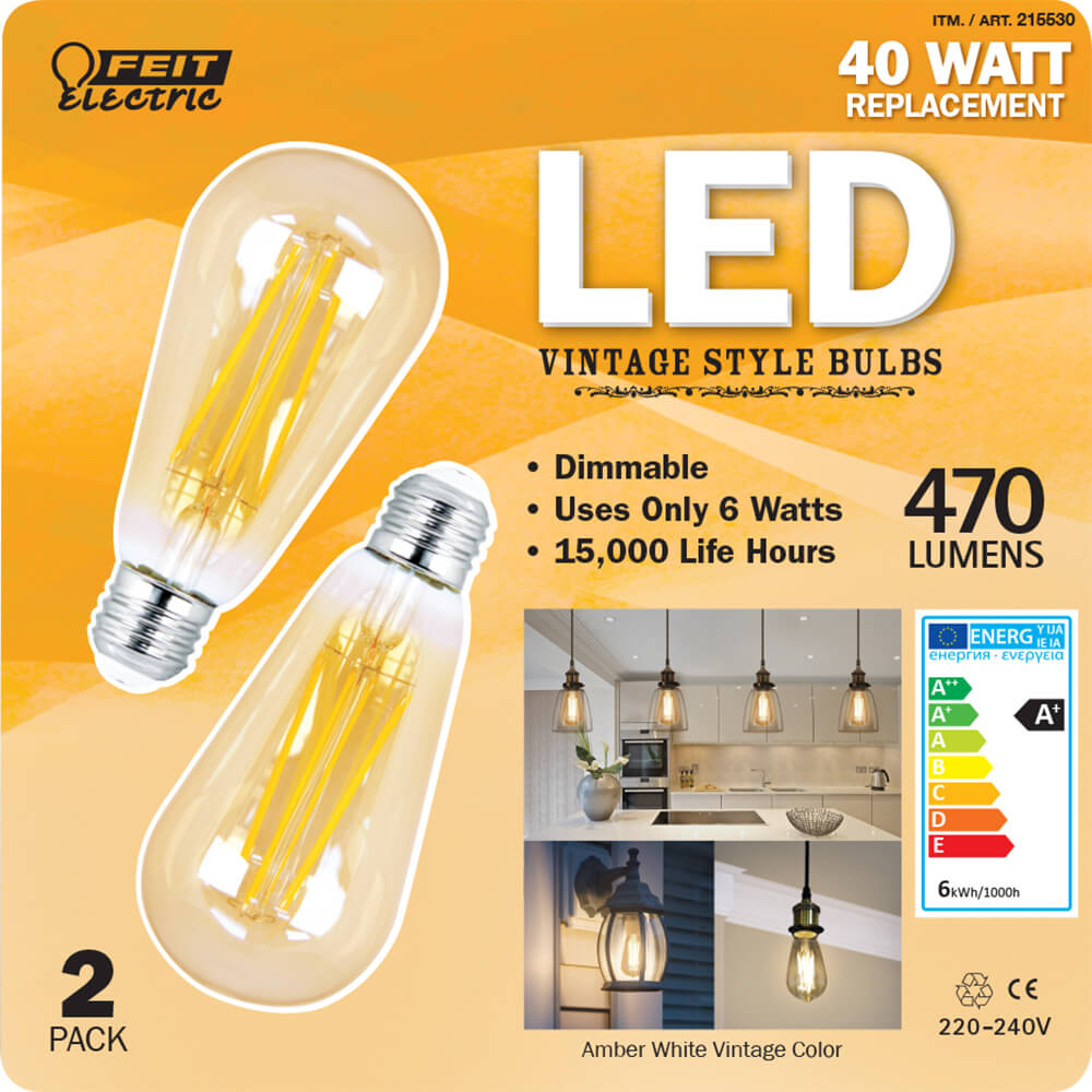 Feit Electric 40w Equivalent Soft White 2150k St19: 470 Lumen 2200K LED Dimmable Vintage ST19