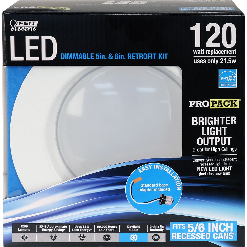 1290 Lumen 5000k 5 Amp 6 Inch Dimmable Recessed Downlight