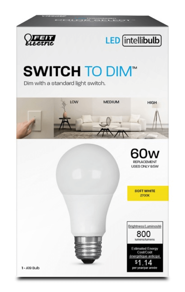 IntelliBulb Switch To Dim 800 Lumen 2700K LED A19