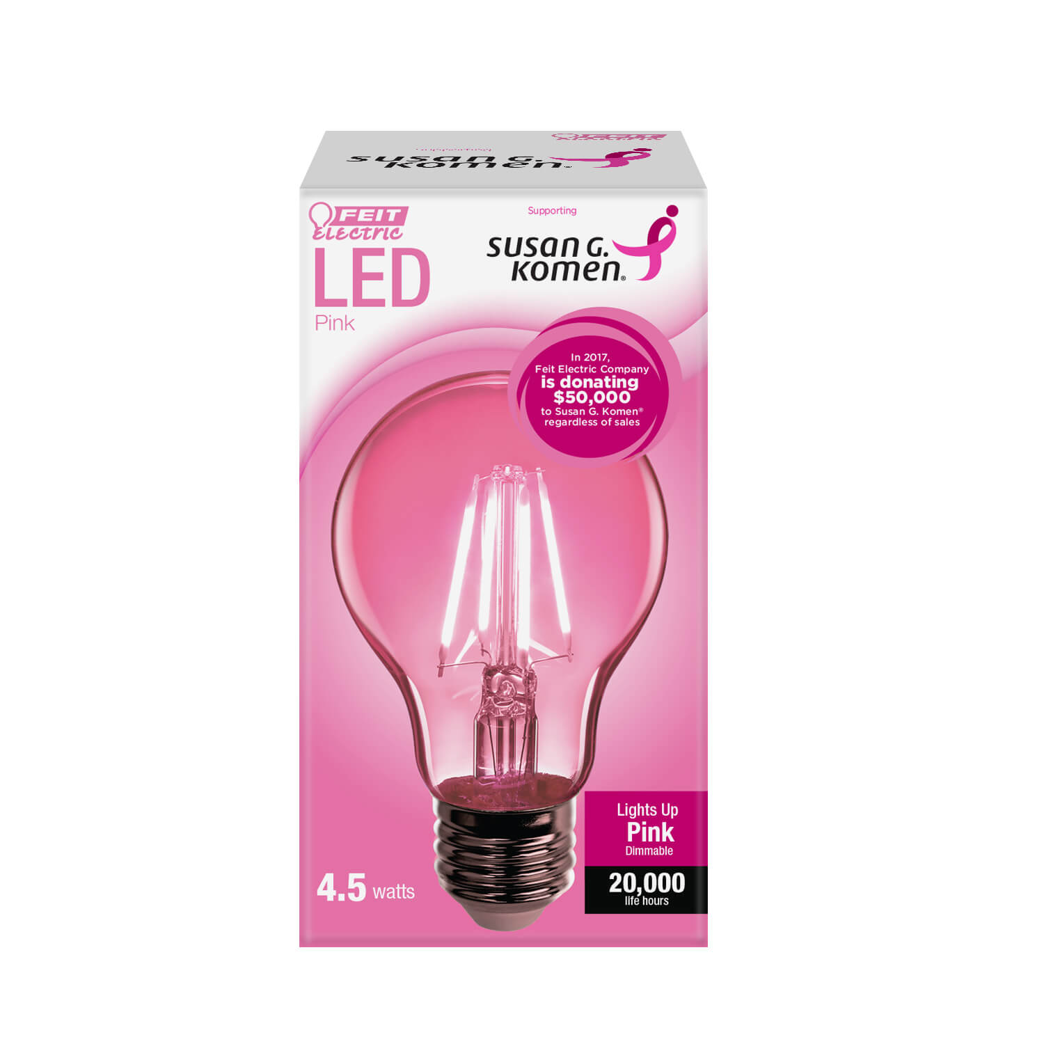 A19 Clear Glass Pink Susan G Komen Led Bulb Feit Electric
