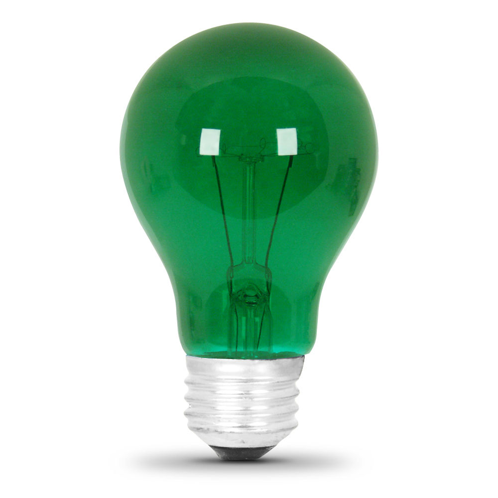 Feit String Lights Colored Bulbs : 25 Watt Transparent Green A19 Party Light - Feit Electric