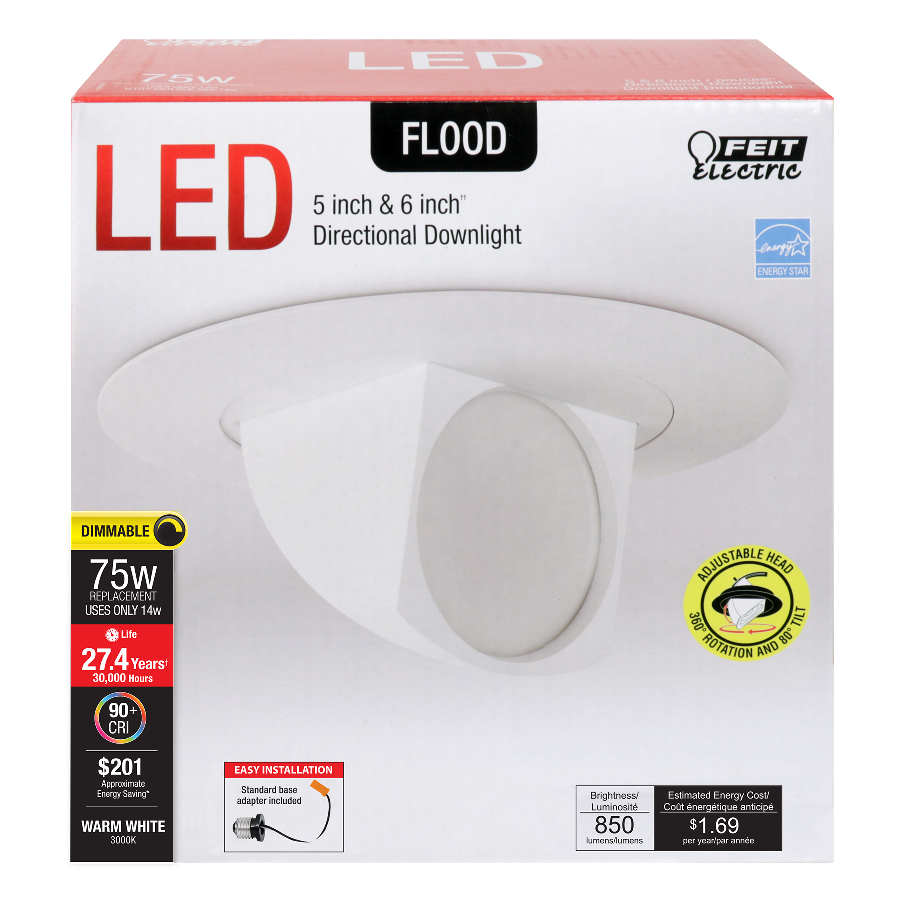 850 Lumen 3000k Adjustable 5 6 Inch Dimmable Recessed