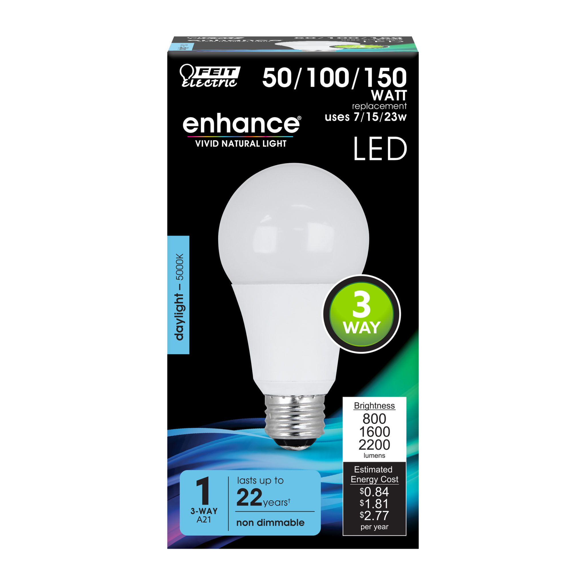 800 1600 2200 Lumen 5000k 3 Way Non Dimmable Led