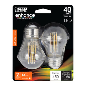 40W Equiv. Soft White A15 Clear Dimmable LED Enhance Glass Filament Light Bulb 2 Pack