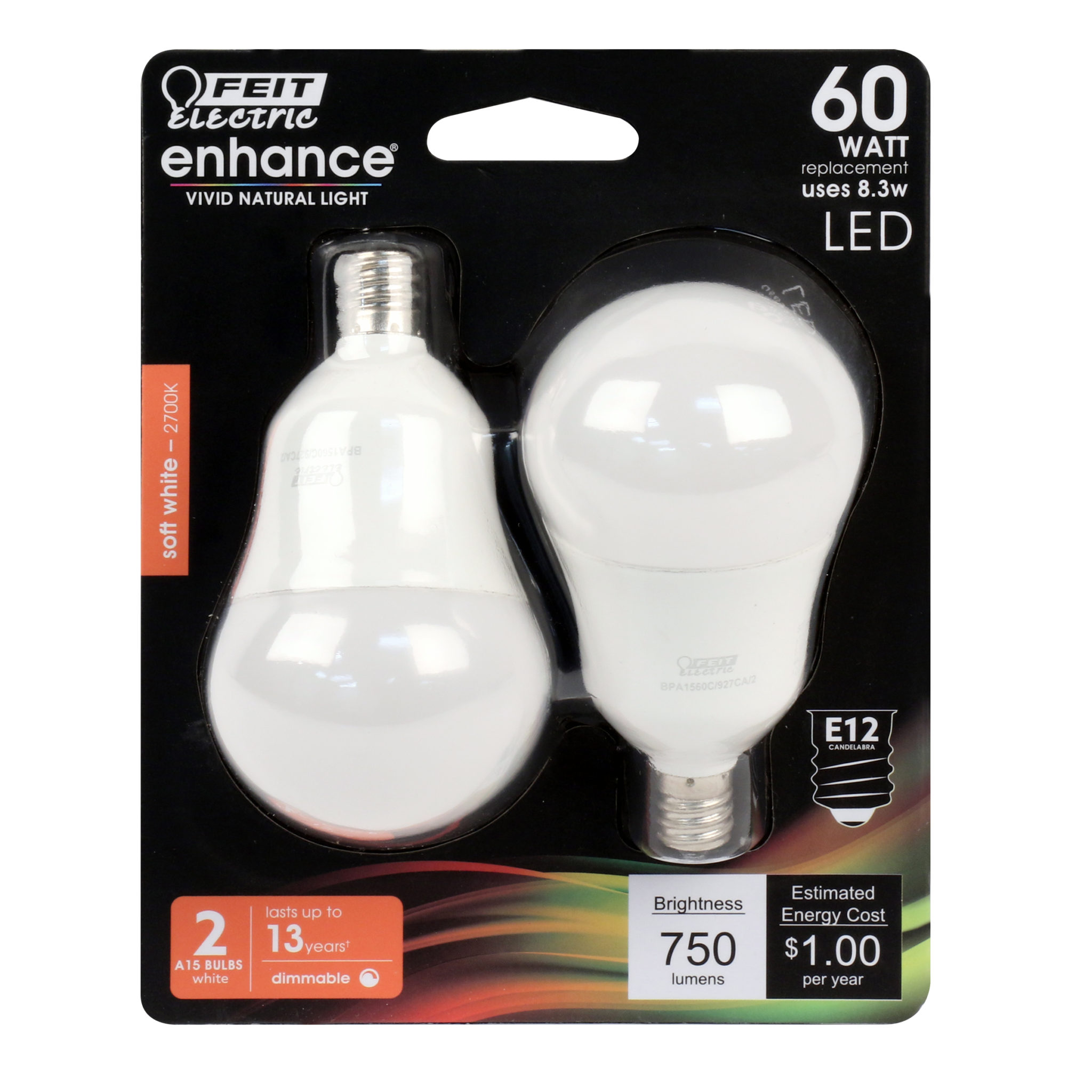 Candelabra Base Dimmable Pack of 24 Feit Electric A15 Filament LED Frost 500 Lumen 2700K 60 Watt Equivalent