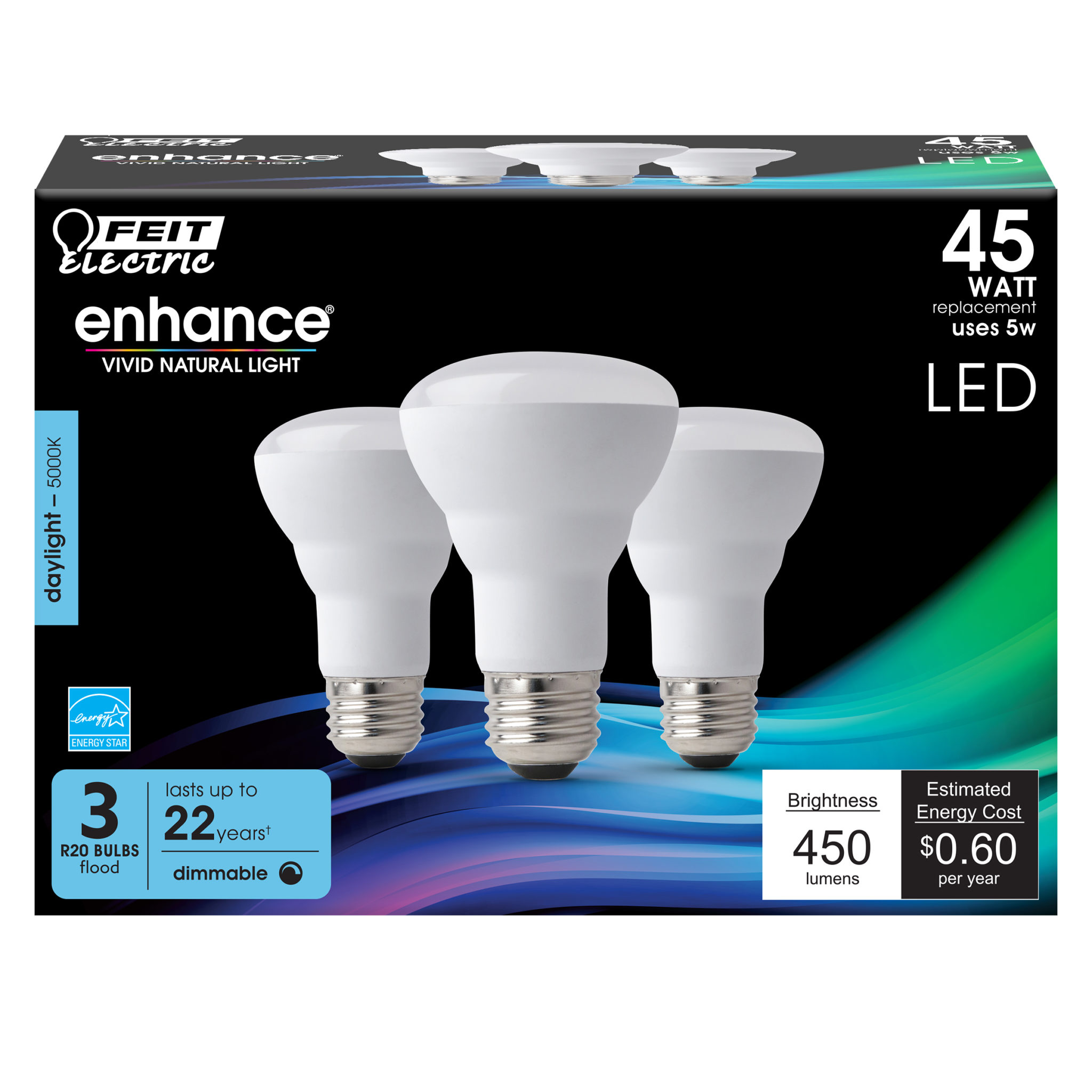 450 Lumen 5000k Dimmable Led R20 Feit Electric