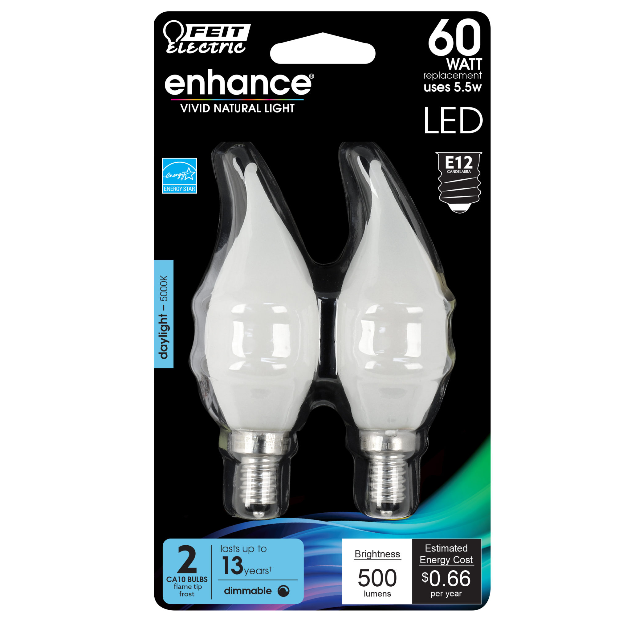 500 Lumen 5000k Dimmable Flame Tip Led Feit Electric