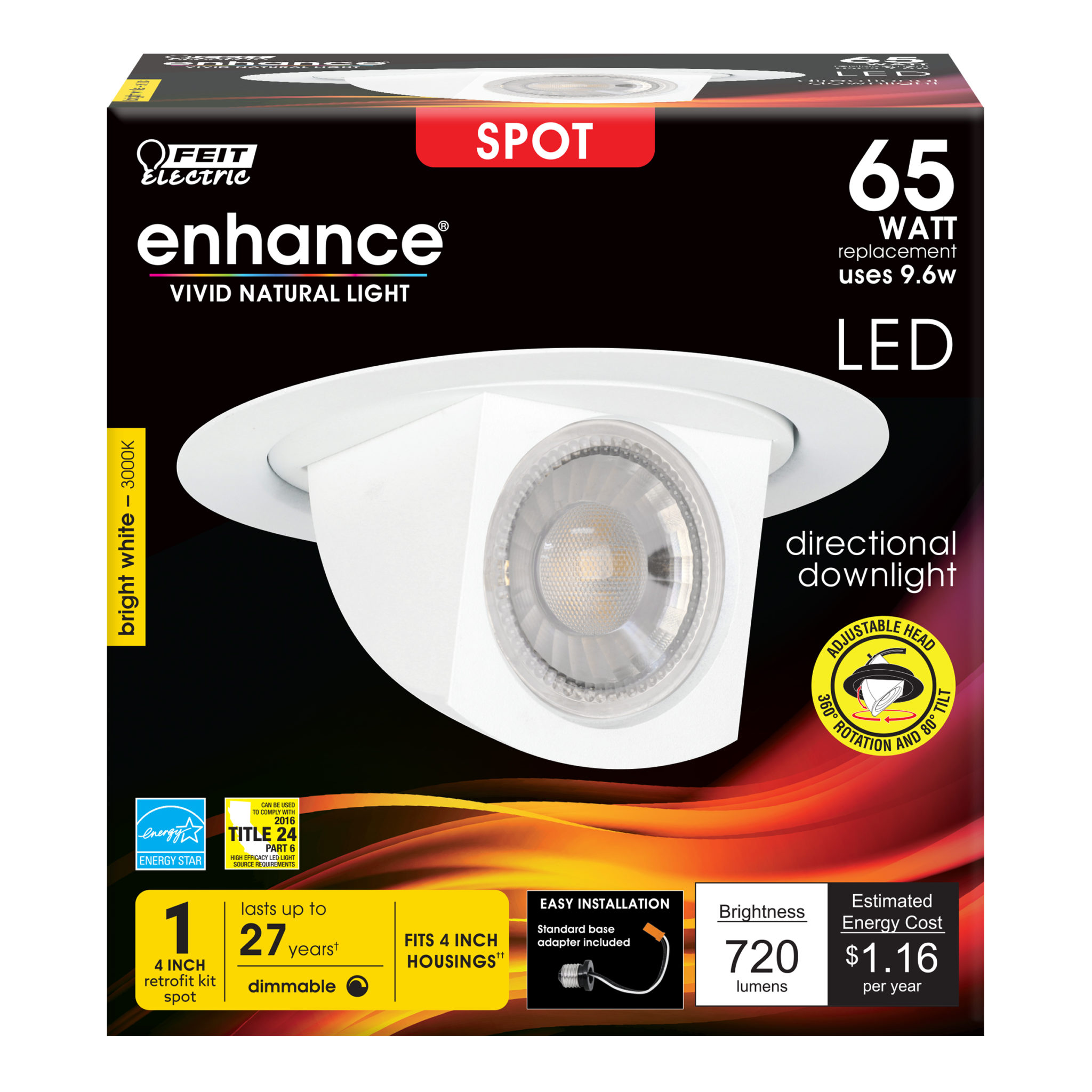 720 Lumen 3000k Adjustable Spot 4 Inch Dimmable Recessed