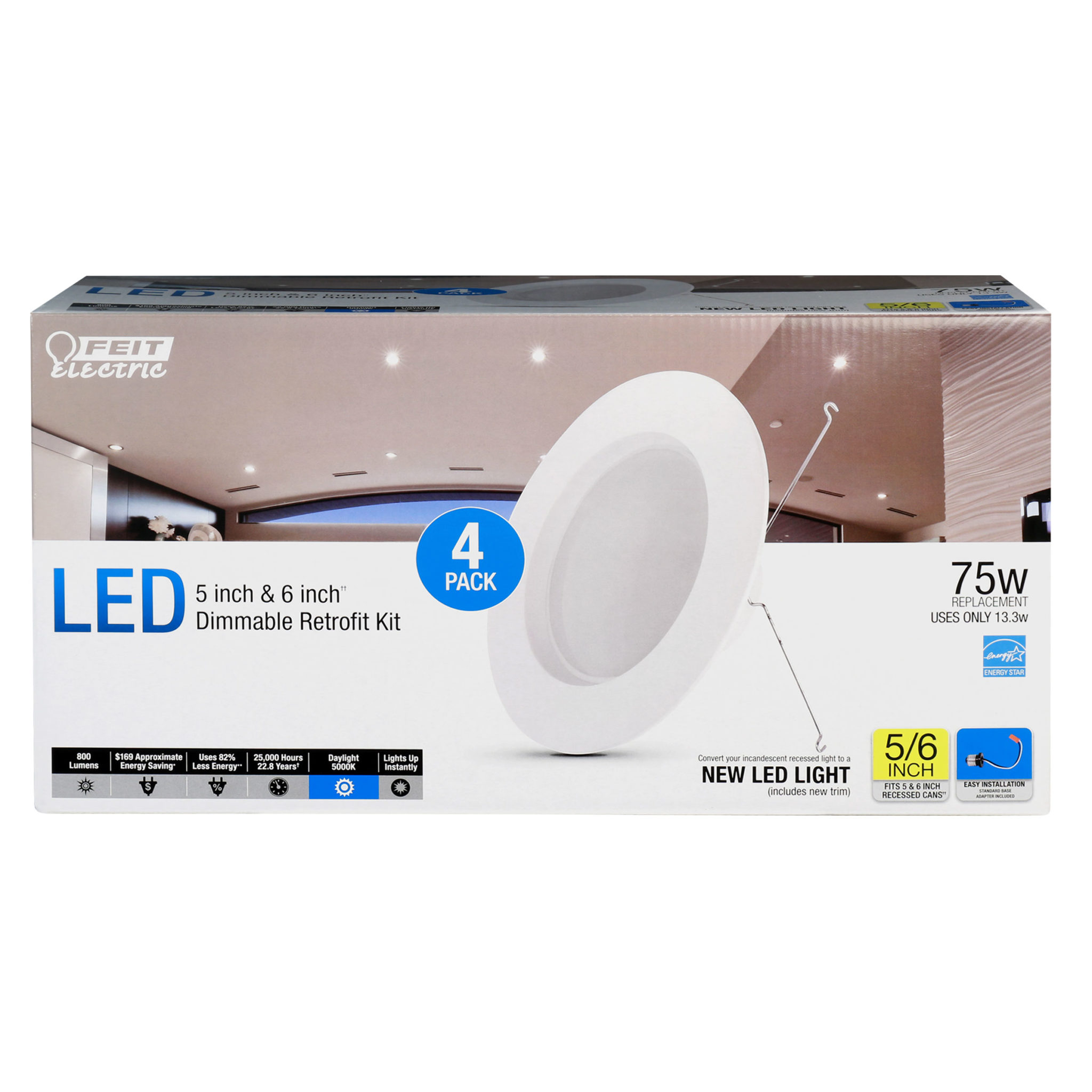 800 Lumen 5000k 5 Amp 6 Inch Dimmable Recessed Downlight