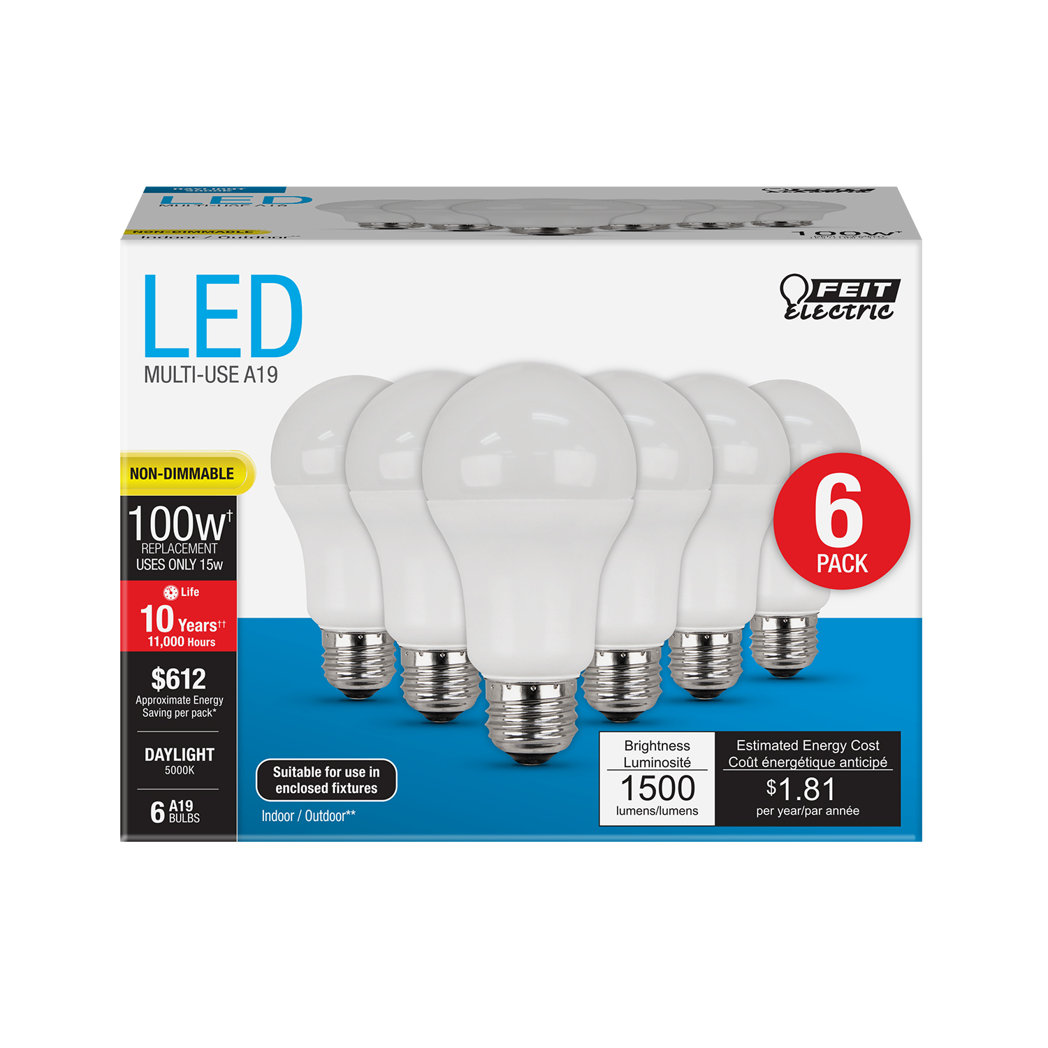 General Electric Led Bulbs: 1500 Lumen 5000K Non-Dimmable A19 LED