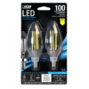 100-Watt Equivalent Clear B10 Daylight Decorative LED (2-Pack)