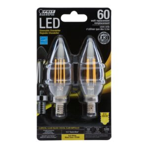 60-Watt Equivalent Dimmable Soft White Torpedo Tip Glass Filament LED 2-Pack (English/French)