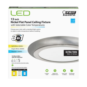 13 in. Round Flat Panel Flush Mount with Clear Glass Shade