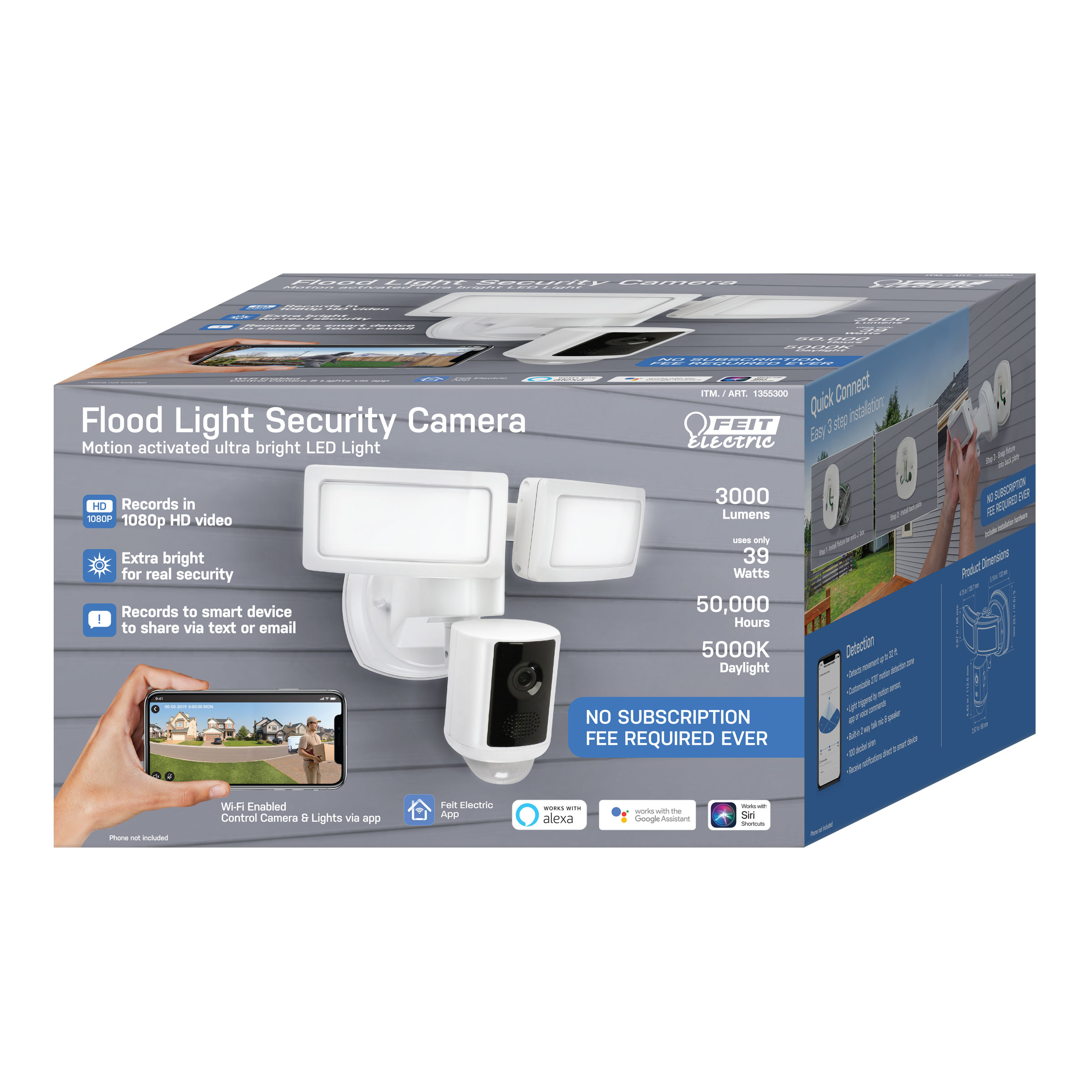 2 Pack Feit Electric Motion Activated LED Flood Light Security Camera