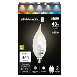 40-Watt Equivalent Flame Tip Color Selectable Dimmable LED Filament