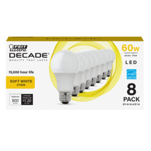800 Lumen 2700K Dimmable A19 LED (8-Pack)