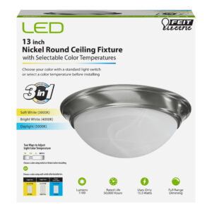 1100 Lumen Color Selectable 13 Inch LED Ceiling Fixture Nickel
