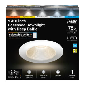 75-Watt Equivalent 5/6 in. Deep Baffle Color Selectable Recessed LED Downlight