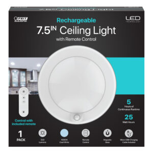 7.5 in. Remote Control Rechargeable Ceiling Light