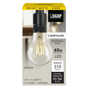 40-Watt Equivalent AT19 Bright White Curved Filament LED